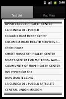 Screenshot of Find a Health Center