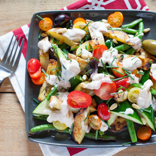 Grilled Vegetables with Olives, Tomatoes & Romesco Sauce Recipe