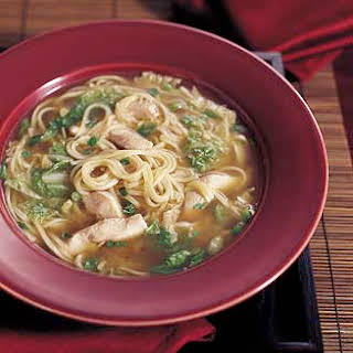 Chinese Chicken Noodle Soup with Sesame and Green Onions.