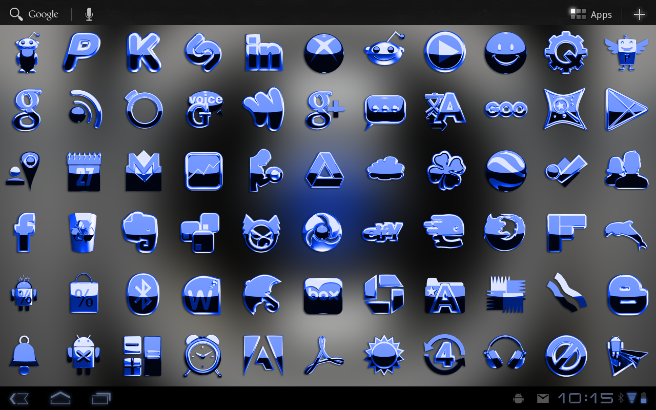 Google themes blue - Next Launcher Theme Blue Metal Screenshot