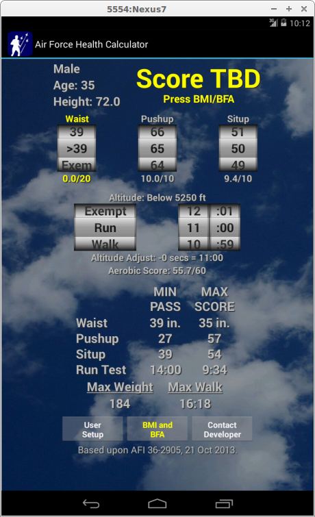 Air Force Health PT Test Calc - screenshot
