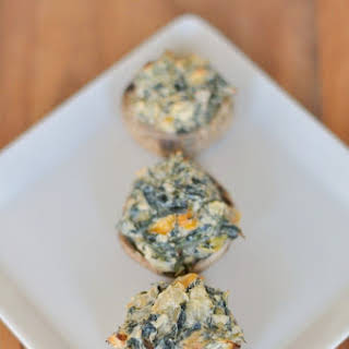 Spicy Spinach Artichoke Stuffed Mushrooms.
