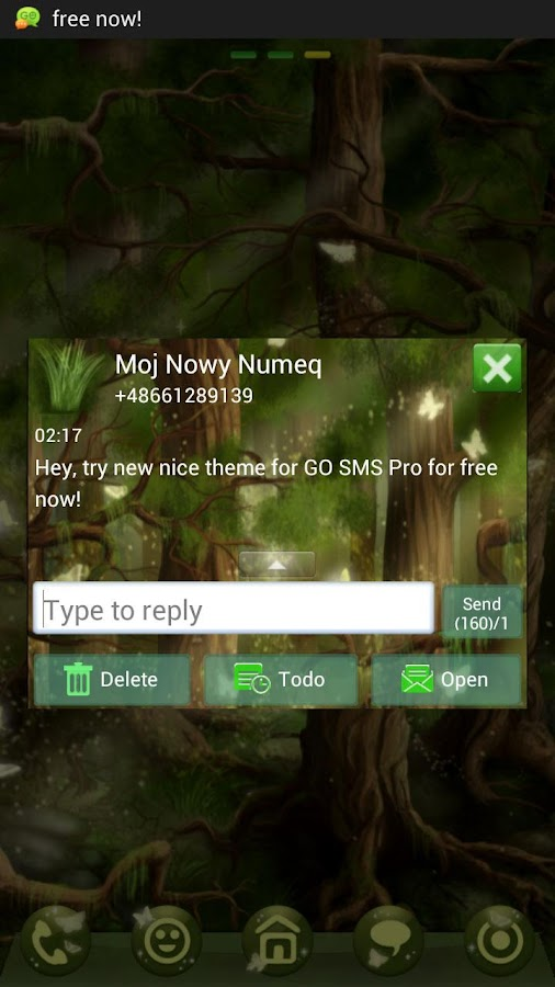 GO SMS Pro Theme forest- screenshot