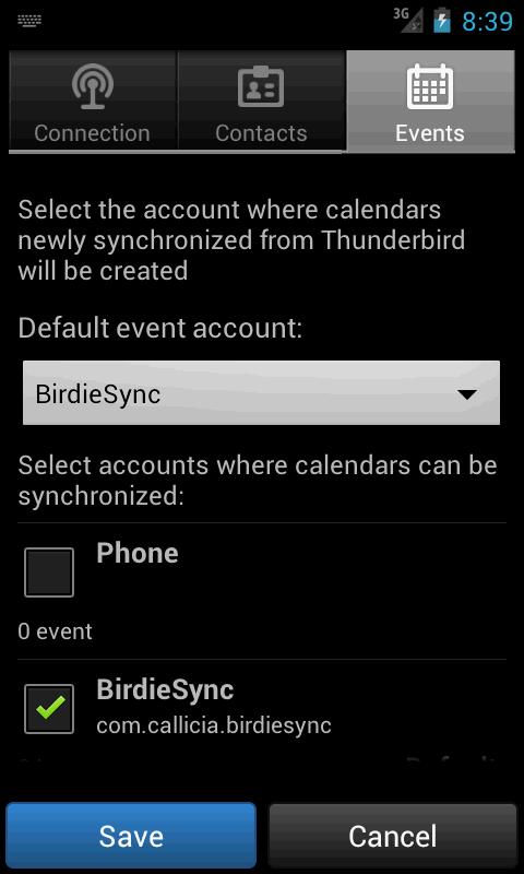 BirdieSync for Thunderbird - screenshot