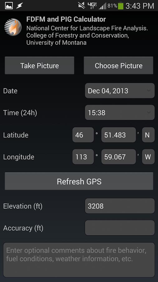 Fire weather calculator - screenshot