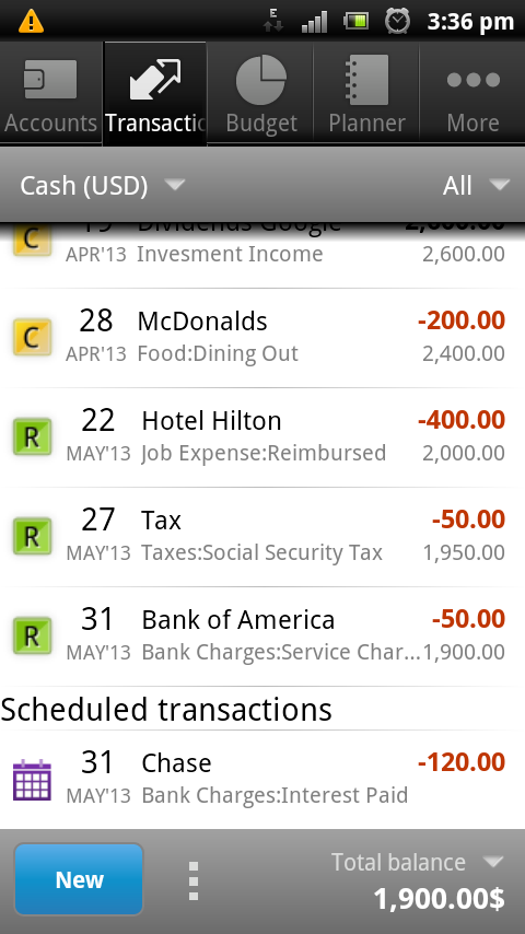 Cash Organizer - screenshot