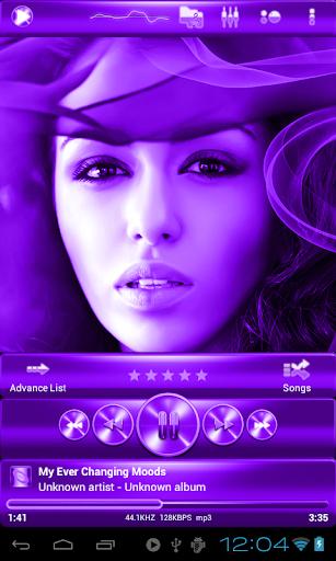 Poweramp skin 紫色の金属