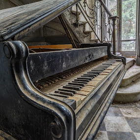 Old grand by Garry Woodford - Novices Only Abstract ( urban, urbex, piano, urban decay, stars, nikon, abandoned )