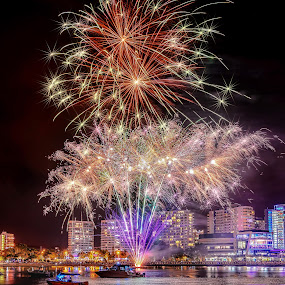 Kabooooooooom by Alex Bogdan - City,  Street & Park  Night ( lights, water, sky, explosion, boats, buildings, reflections, fireworks, night, colours )