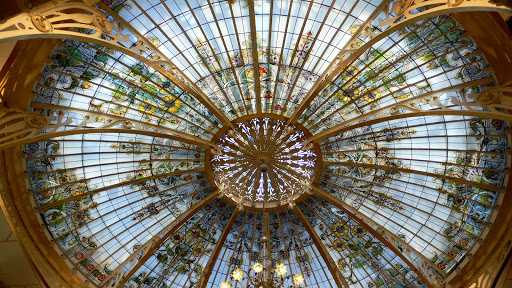 Monte-Carlo-cupola-stained-glass - A decorative stained-glass cupola in Monte Carlo.