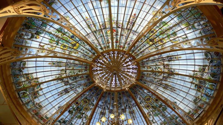 A decorative stained-glass cupola in Monte Carlo.