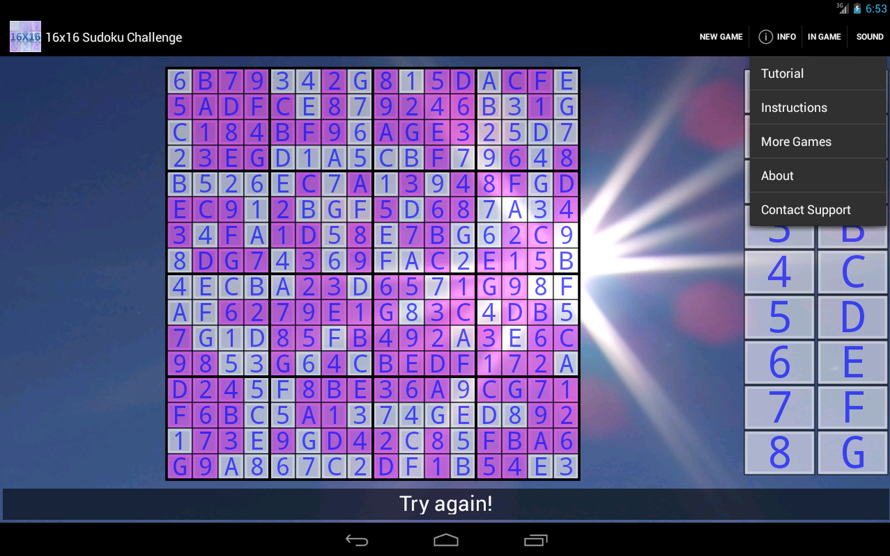 16x16 Sudoku Challenge HD- screenshot