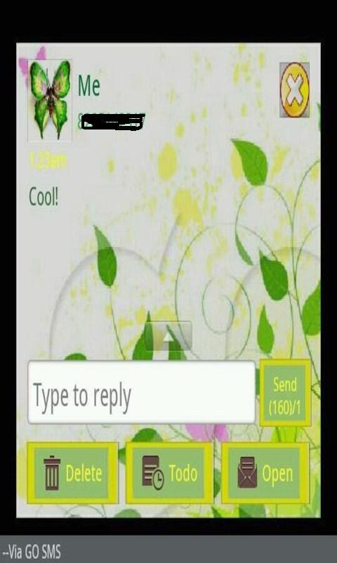 GO SMS THEME/greenbutterfly - screenshot