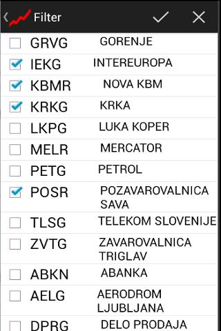 Tečajnica Ljubljanske borze - screenshot