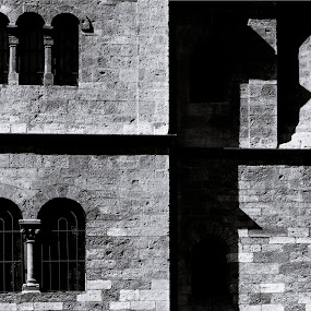by Micky Mihalache - Black & White Buildings & Architecture ( jewish, black and white, monument, windows, historical, prague, shadows )