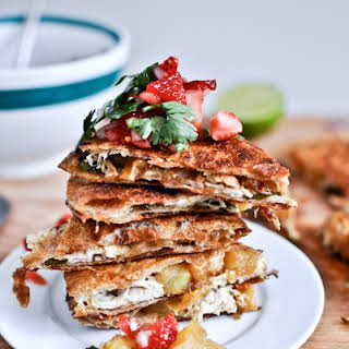 Caramelized Pineapple Quesadillas. [with Spicy Strawberry Salsa!].