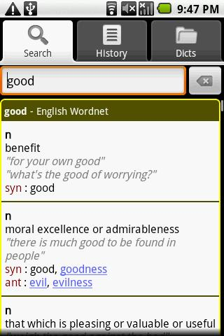 English Thesaurus Dictionary - screenshot