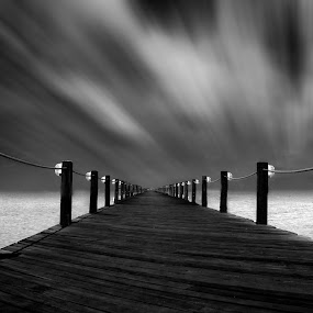 Infinity walk by Marcelo Archila - Black & White Landscapes ( contrast, monochrome, hdr, black and white, fine art, long exposure )