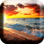 Waves sunset wallpaper free