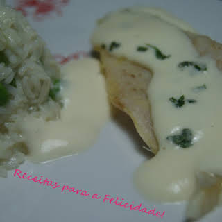 Hake Fillets with Camembert Sauce.