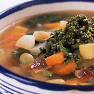 Vegetable Soup with Basil and Garlic Sauce.