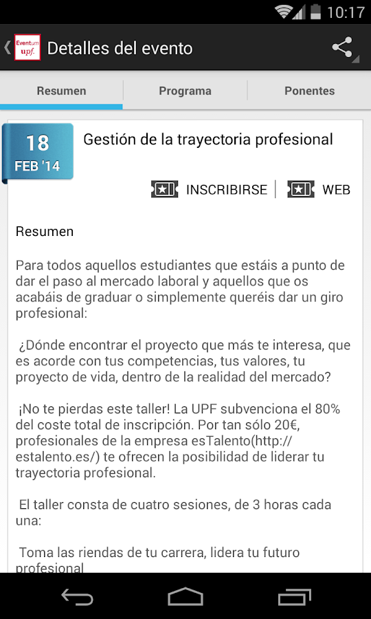 Portal Eventum UPF- screenshot