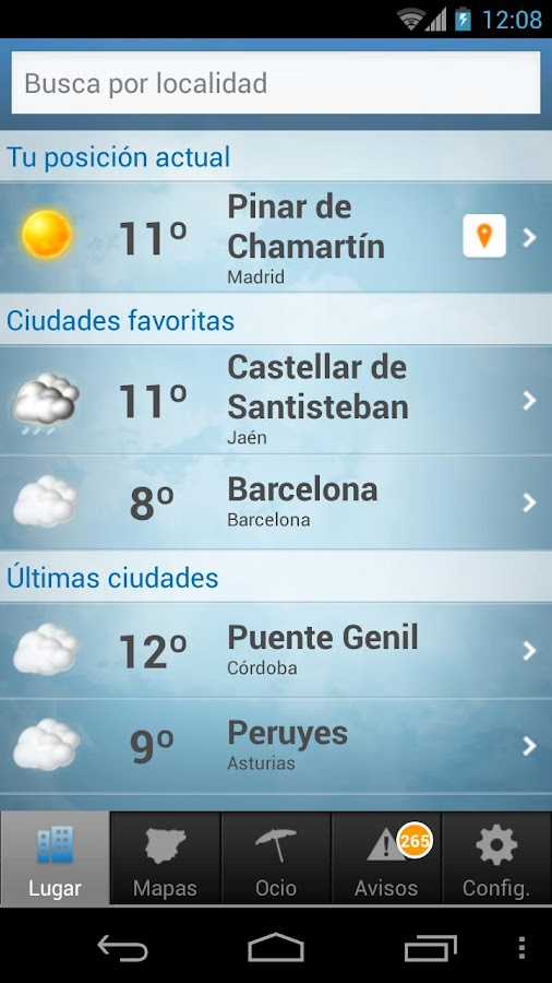 Tiempo y Temperatura- screenshot