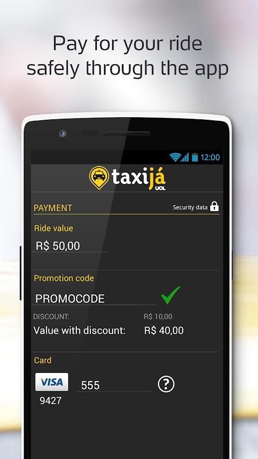 Taxijá UOL, brazil taxicab app - screenshot