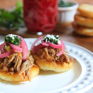 Slow Roasted Pork Arepas with Quick Pickled Onions and Chimichurri