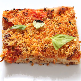 Easy Pan Pizza With Sun-dried Tomatoes, Caramelized Onions, Olives, and Breadcrumbs (Vegan)