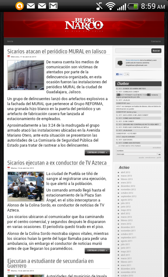 Blog del Narco - screenshot