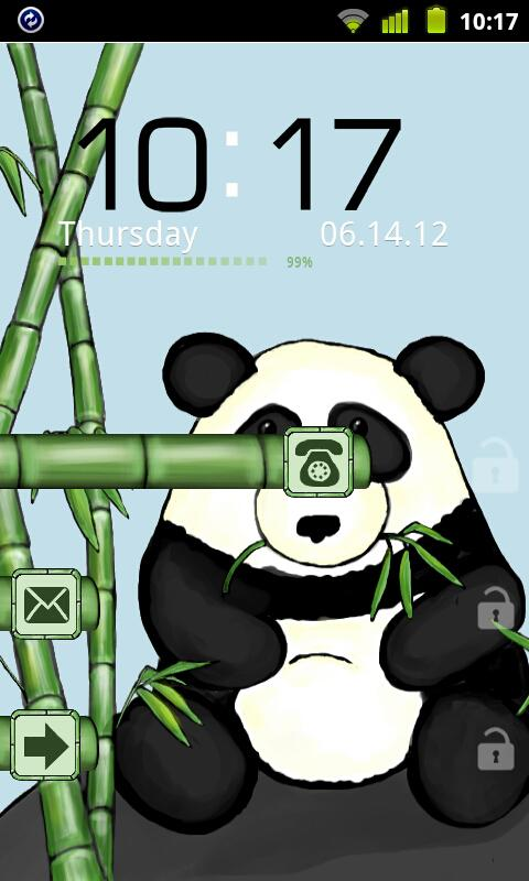 Bamboo Panda Theme GO Locker - screenshot