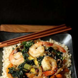 Sesame Shrimp Stir Fry with Summer Vegetables and Hemp Seeds.