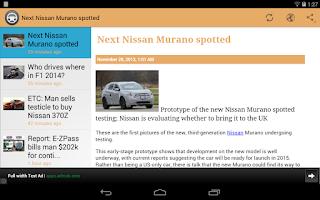Screenshot of Cars & Autos news