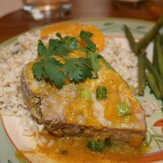 Peach Curry Glazed Pork Chops