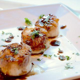 Soy-Balsamic Glazed Sea Scallops.