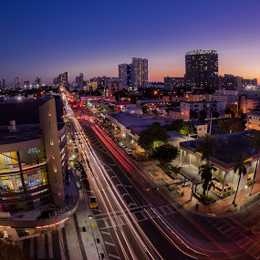South Beach Sunset by Jean Perrin - City,  Street & Park  Skylines ( miami beach, sunset, sobe, south beach )