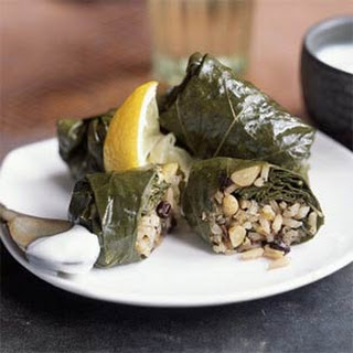 Grape Leaves Stuffed with Rice, Currants, and Herbs.