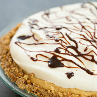 Chocolate-Peanut Butter Banana Cream Pie with Pretzel Crust.
