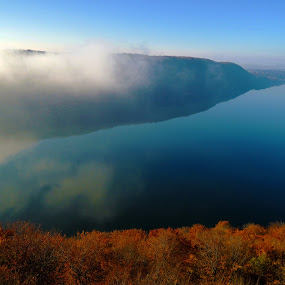 Golden matter by Bogdan Penkovsky - Landscapes Travel ( sky, simplicity, cold, nature, fog, autumn, brown, lake )