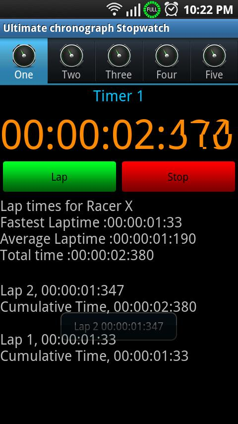 Ultimate Chronograph Stopwatch - screenshot