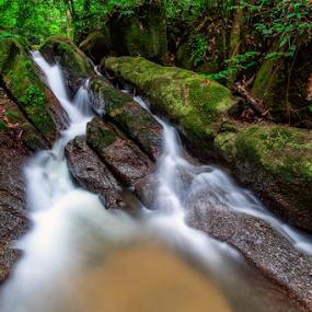 Gisai Waterfall by Fadly Hj Halim - Landscapes Forests ( gnd, water, pahang, waterfall, sungai gisai, lentang, malaysia, forest, nikon, cpl, filter )