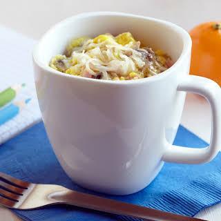 Microwave Ham, Mushroom & Swiss Coffee Cup Scramble.
