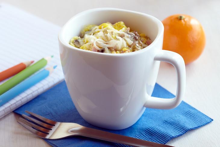 Microwave Ham, Mushroom & Swiss Coffee Cup Scramble Recipe