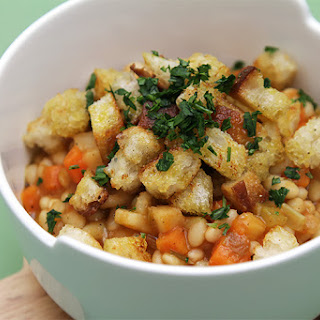 Vegetable Cassoulet With Olive Oil Croutons.