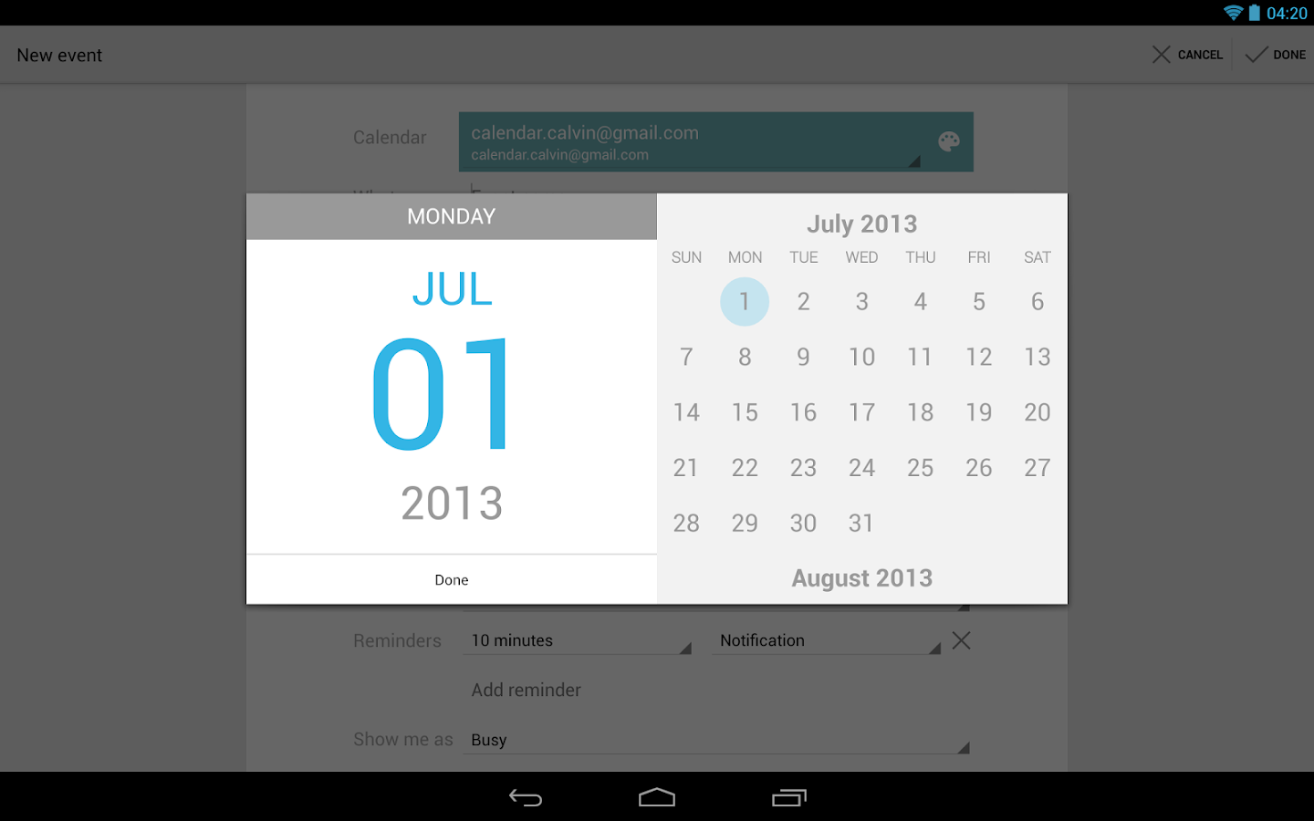 Google Calendar - screenshot