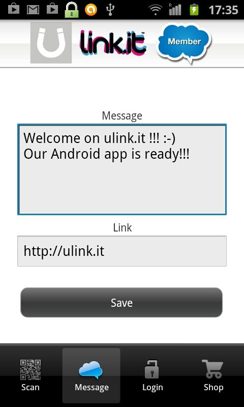 Ulink.it QR code scanner- screenshot