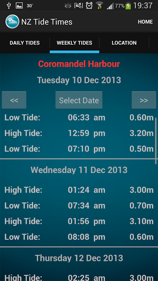 New Zealand Tide Times - screenshot