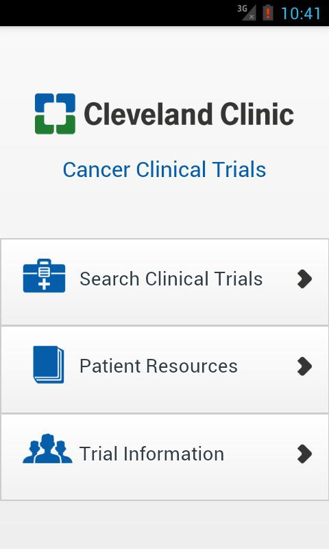 Cleveland Clinic Cancer Trials - screenshot