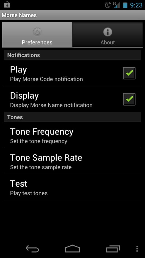 Morse Names SMS Notifcations- screenshot